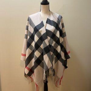 Burberry reversible check print fringe cape